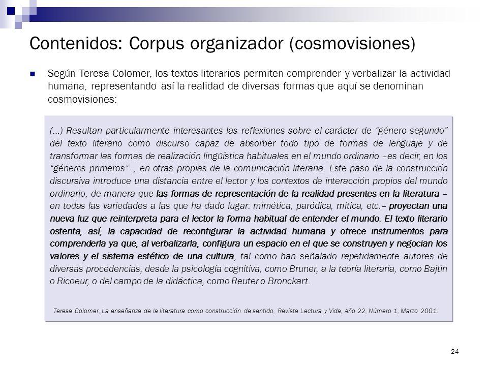 23 Contenidos: Corpus organizador (cosmovisiones) La materia consiste en leer textos de Literatura española, latinoamericana y argentina en el marco d