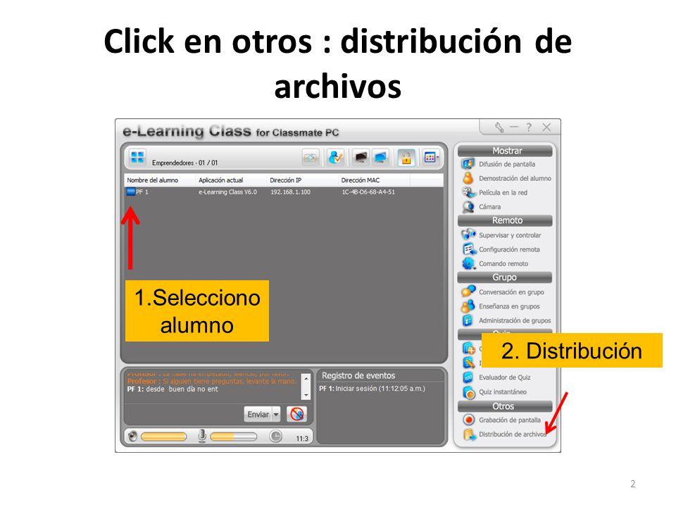 Archivo seleccionado listo a ser enviado, click en ícono de envío para enviar 13 Click para enviar