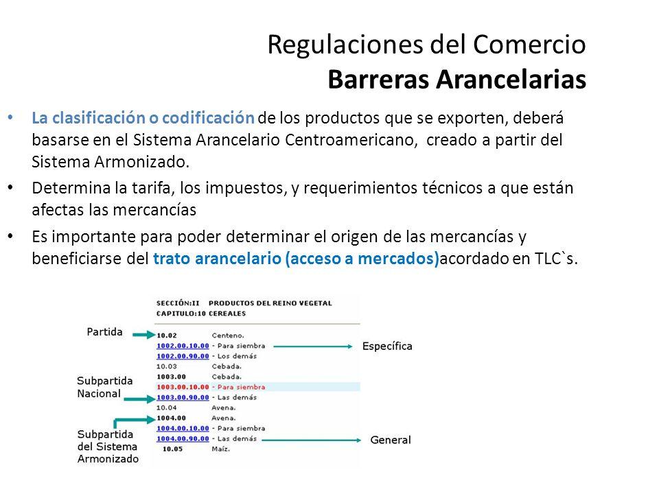 Regulaciones del Comercio Barreras No arancelarias Toda medida al margen del arancel que restringe o evita el ingreso de un producto a determinado mercado.