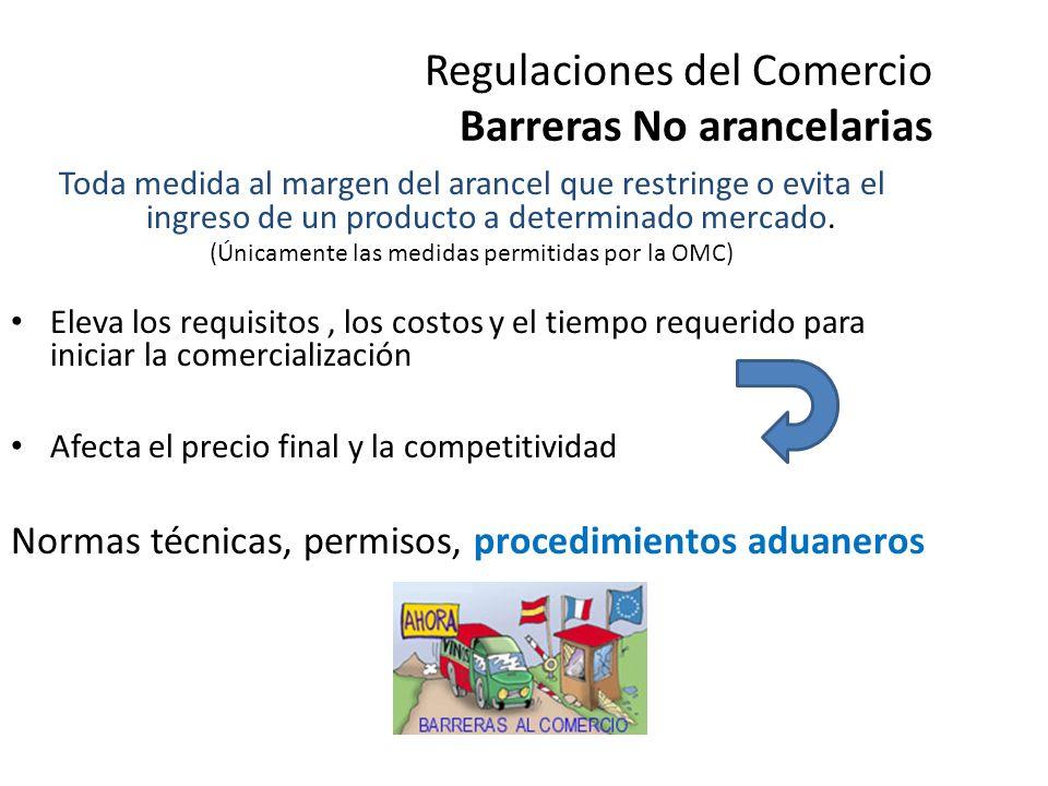 Regulaciones del Comercio Barreras NO arancelarias Restricciones cuantitativas o cuotas Los subsidios Normas de origen Prohibiciones a la importación de X producto Requisitos informales en aduanas y puertos Trámites no oficiales y de seguridad en el transporte Abuso en la aplicación de medidas técnicas y/o fitosanitarias