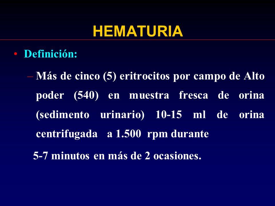 CAUSAS DE HEMATURIA MICROSCOPICA AISLADA ASINTOMATICA MENOS FRECUENTES: –Nefritis de Alport –Glomerulonefritis posinfecciosa –Traumatismos ejercicio –Nefrolitiasis –Púrpura de Henoch Schönlein –Adenontris