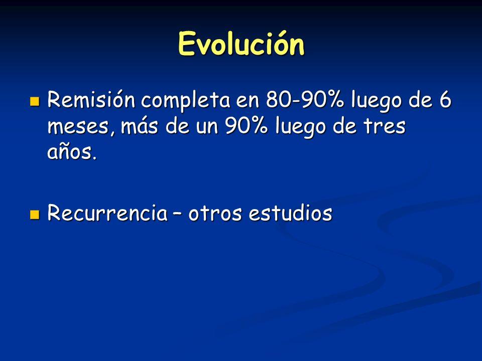 Evolución Remisión completa en 80-90% luego de 6 meses, más de un 90% luego de tres años. Remisión completa en 80-90% luego de 6 meses, más de un 90%
