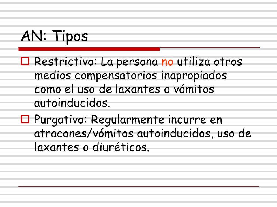 AN: Tipos Restrictivo: La persona no utiliza otros medios compensatorios inapropiados como el uso de laxantes o vómitos autoinducidos. Purgativo: Regu