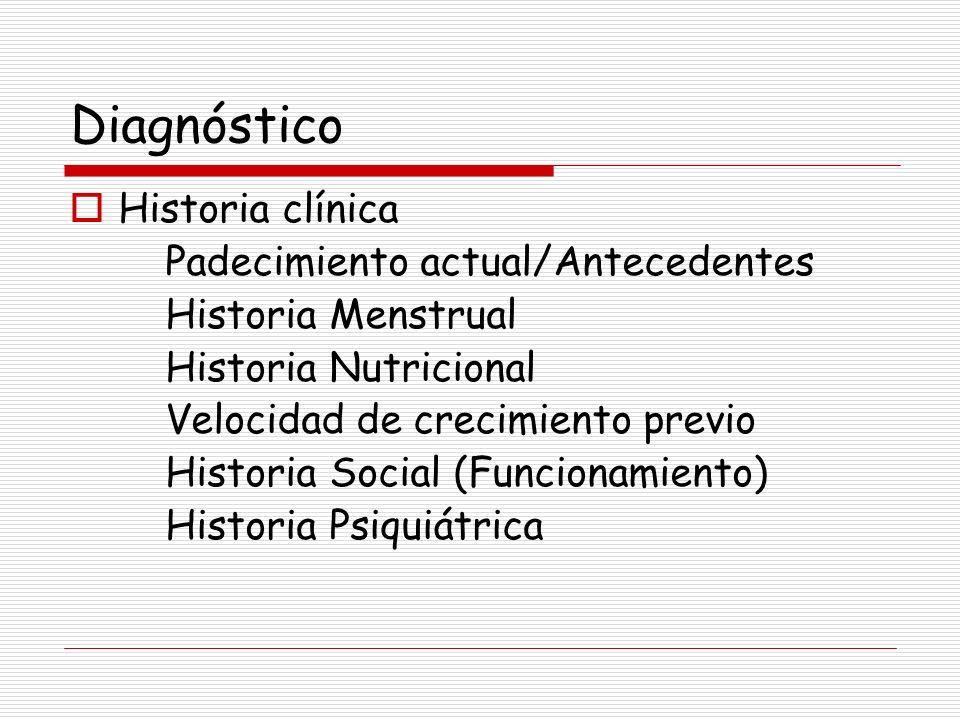 Diagnóstico Historia clínica Padecimiento actual/Antecedentes Historia Menstrual Historia Nutricional Velocidad de crecimiento previo Historia Social
