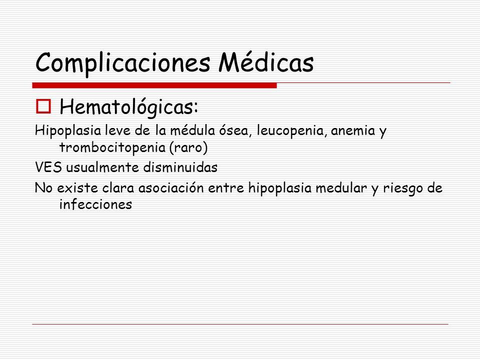 Complicaciones Médicas Hematológicas: Hipoplasia leve de la médula ósea, leucopenia, anemia y trombocitopenia (raro) VES usualmente disminuidas No exi