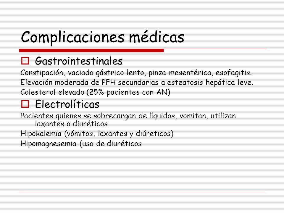 Complicaciones médicas Gastrointestinales Constipación, vaciado gástrico lento, pinza mesentérica, esofagitis. Elevación moderada de PFH secundarias a