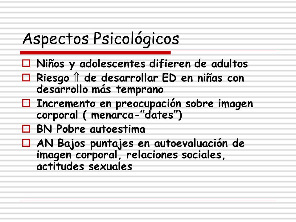Aspectos Psicológicos Niños y adolescentes difieren de adultos Riesgo de desarrollar ED en niñas con desarrollo más temprano Incremento en preocupació