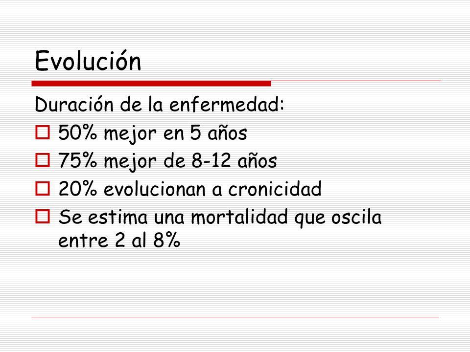 Evolución Duración de la enfermedad: 50% mejor en 5 años 75% mejor de 8-12 años 20% evolucionan a cronicidad Se estima una mortalidad que oscila entre