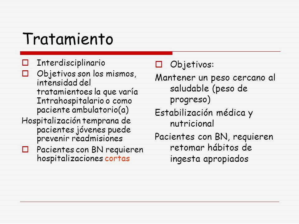 Tratamiento Interdisciplinario Objetivos son los mismos, intensidad del tratamientoes la que varía Intrahospitalario o como paciente ambulatorio(a) Ho