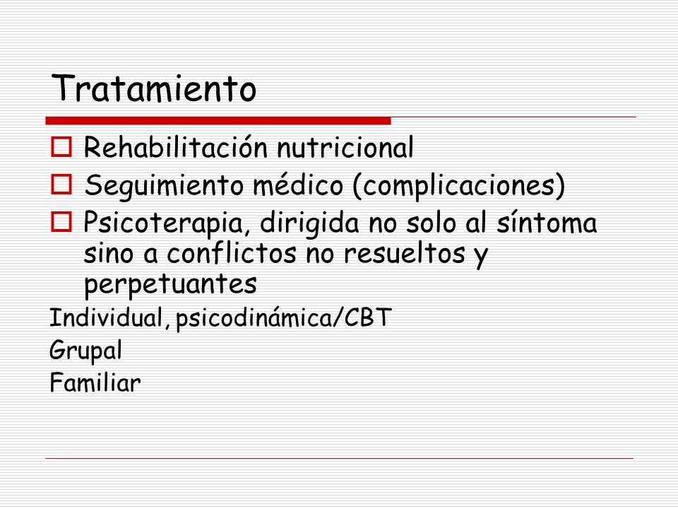Tratamiento Rehabilitación nutricional Seguimiento médico (complicaciones) Psicoterapia, dirigida no solo al síntoma sino a conflictos no resueltos y