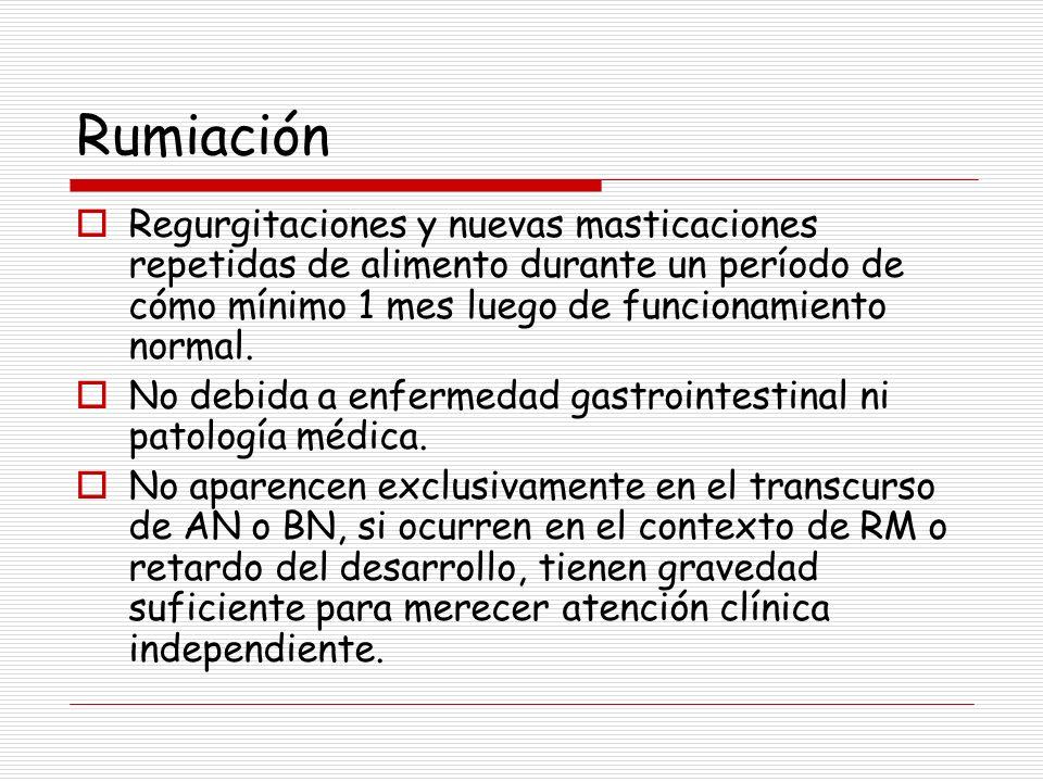 Rumiación Regurgitaciones y nuevas masticaciones repetidas de alimento durante un período de cómo mínimo 1 mes luego de funcionamiento normal. No debi