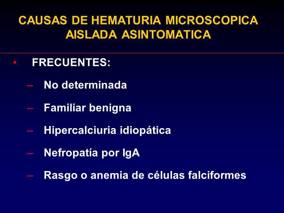 CAUSAS DE HEMATURIA MICROSCOPICA AISLADA ASINTOMATICA FRECUENTES: –No determinada –Familiar benigna –Hipercalciuria idiopática –Nefropatía por IgA –Ra