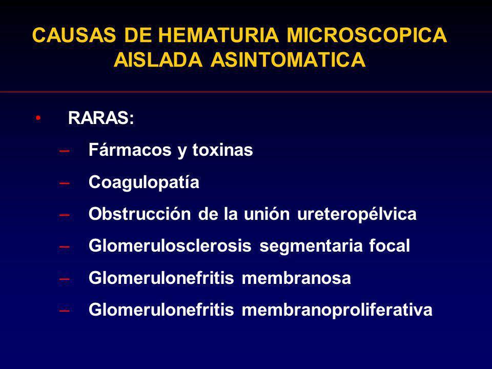CAUSAS DE HEMATURIA MICROSCOPICA AISLADA ASINTOMATICA RARAS: –Fármacos y toxinas –Coagulopatía –Obstrucción de la unión ureteropélvica –Glomeruloscler
