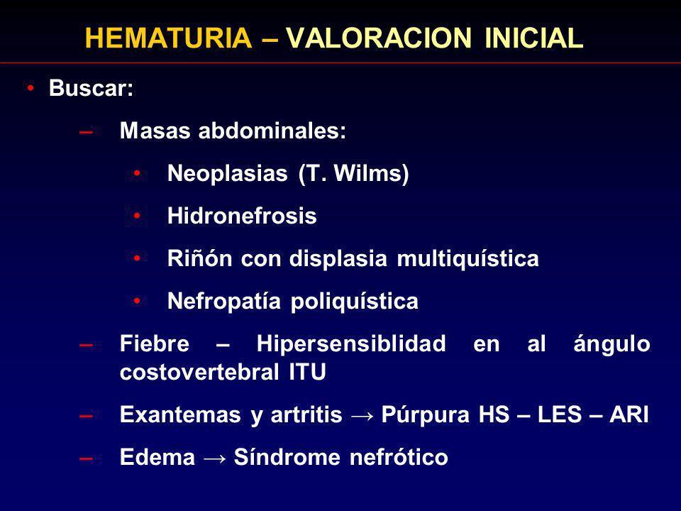 HEMATURIA – VALORACION INICIAL Buscar: –Masas abdominales: Neoplasias (T. Wilms) Hidronefrosis Riñón con displasia multiquística Nefropatía poliquísti
