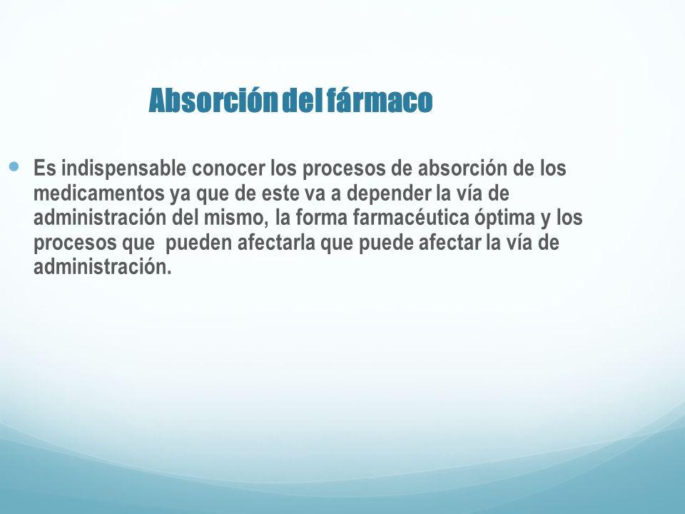 Absorción del fármaco Es indispensable conocer los procesos de absorción de los medicamentos ya que de este va a depender la vía de administración del