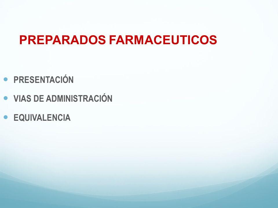 PREPARADOS FARMACEUTICOS PRESENTACIÓN VIAS DE ADMINISTRACIÓN EQUIVALENCIA