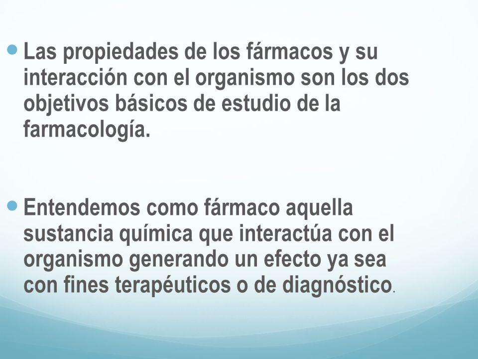 Las propiedades de los fármacos y su interacción con el organismo son los dos objetivos básicos de estudio de la farmacología. Entendemos como fármaco