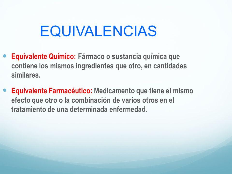 EQUIVALENCIAS Equivalente Químico: Fármaco o sustancia química que contiene los mismos ingredientes que otro, en cantidades similares. Equivalente Far