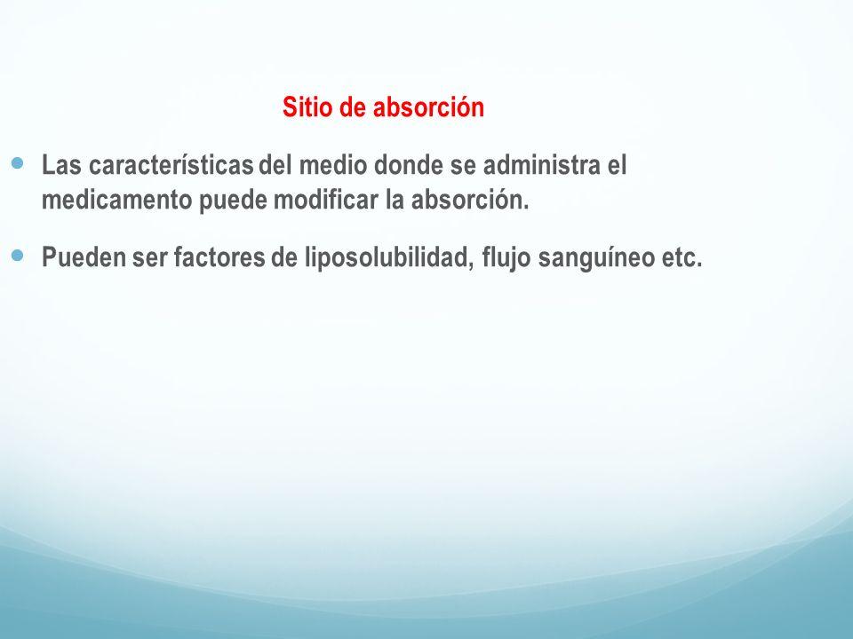 Sitio de absorción Las características del medio donde se administra el medicamento puede modificar la absorción. Pueden ser factores de liposolubilid