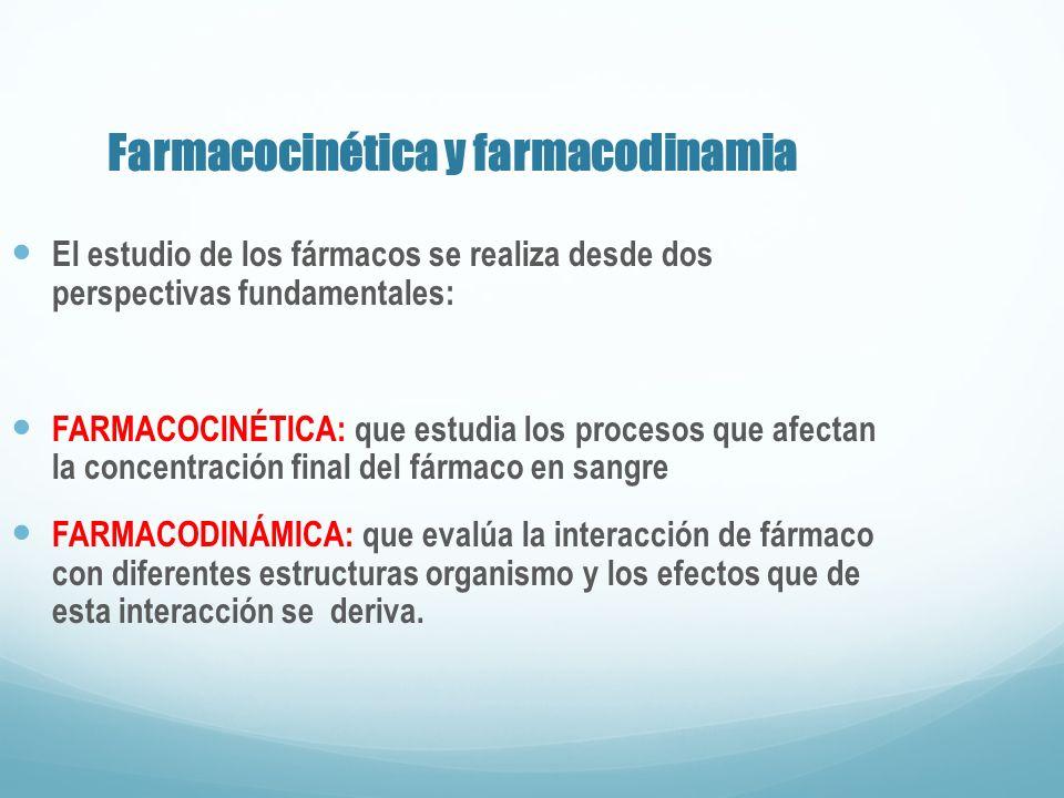 Farmacocinética y farmacodinamia El estudio de los fármacos se realiza desde dos perspectivas fundamentales: FARMACOCINÉTICA: que estudia los procesos
