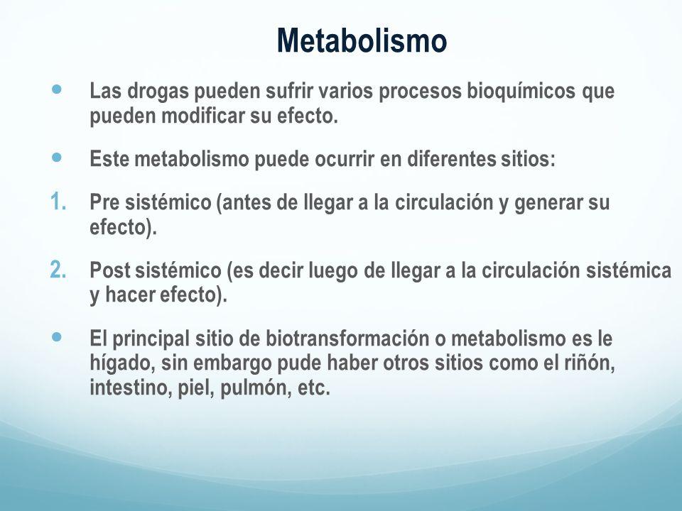 Metabolismo Las drogas pueden sufrir varios procesos bioquímicos que pueden modificar su efecto. Este metabolismo puede ocurrir en diferentes sitios: