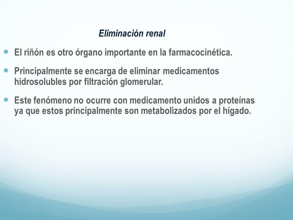 Eliminación renal El riñón es otro órgano importante en la farmacocinética. Principalmente se encarga de eliminar medicamentos hidrosolubles por filtr
