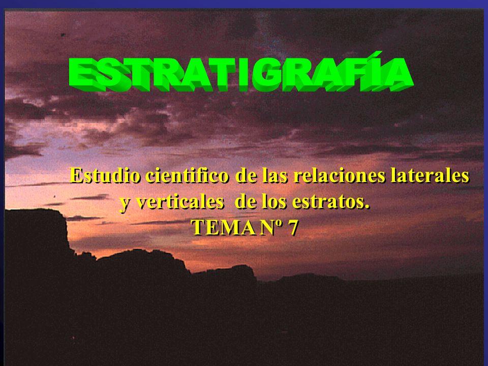 ESTRATIGRAFIA Es una rama de las ciencias geológicas a la que concierne la descripción, organización y la clasificación de las Rocas Sedimentarias (o volcánicas) estratificadas (dispuestas naturalmente en capas o estratos).
