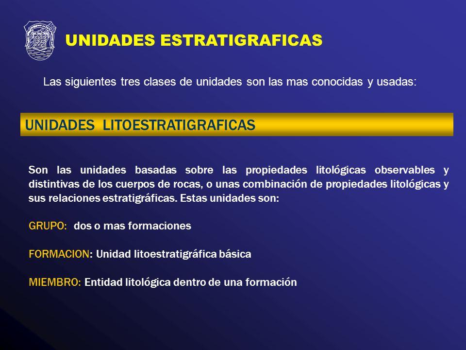 Las siguientes tres clases de unidades son las mas conocidas y usadas: UNIDADES ESTRATIGRAFICAS UNIDADES LITOESTRATIGRAFICAS Son las unidades basadas
