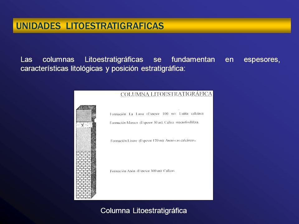Las columnas Litoestratigráficas se fundamentan en espesores, características litológicas y posición estratigráfica: Columna Litoestratigráfica UNIDAD