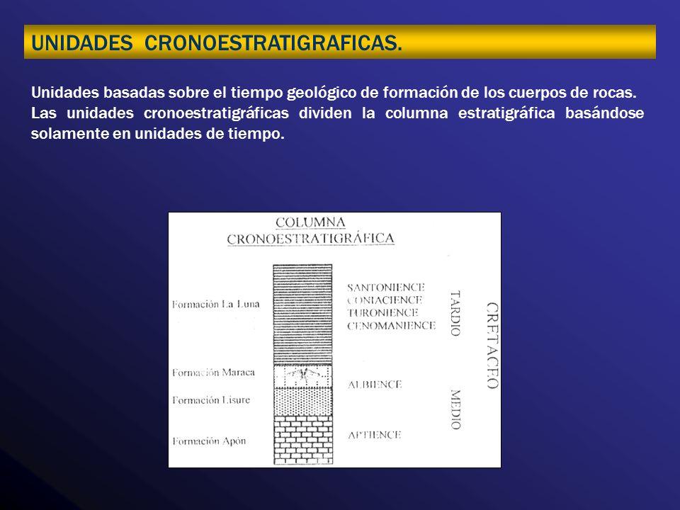 UNIDADES CRONOESTRATIGRAFICAS. Unidades basadas sobre el tiempo geológico de formación de los cuerpos de rocas. Las unidades cronoestratigráficas divi