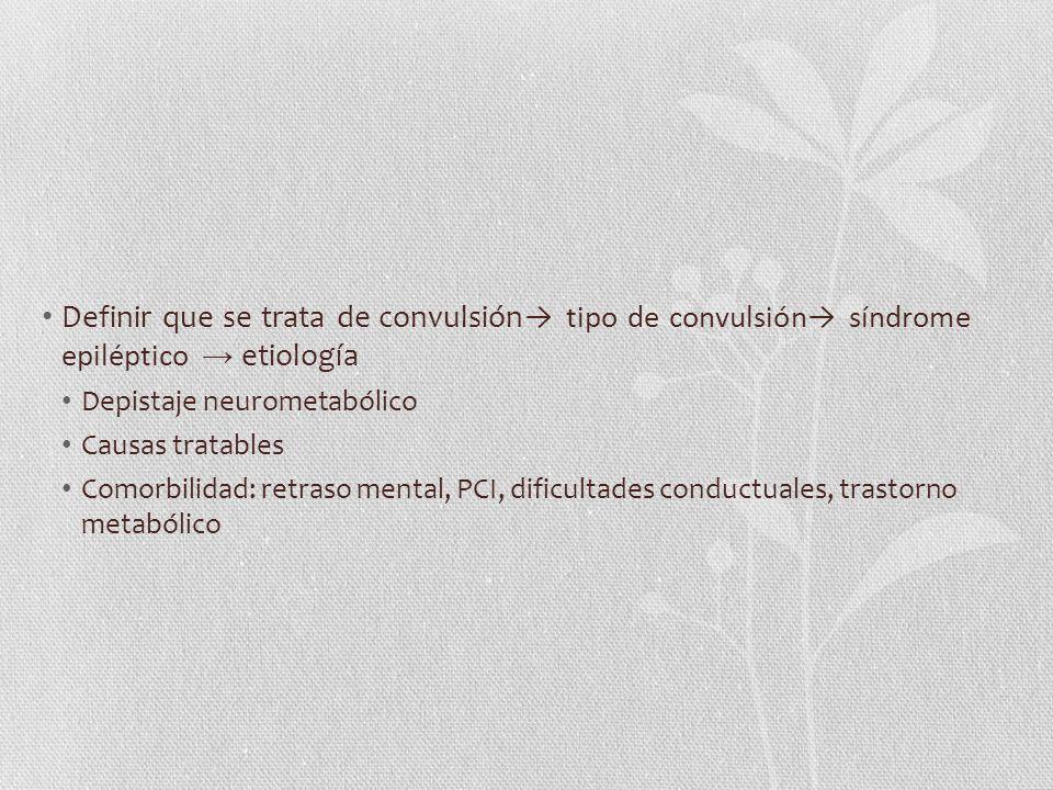 Definir que se trata de convulsión tipo de convulsión síndrome epiléptico etiología Depistaje neurometabólico Causas tratables Comorbilidad: retraso m