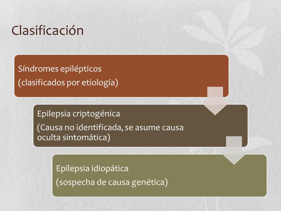 Síndromes epilépticos (clasificados por etiología) Epilepsia criptogénica (Causa no identificada, se asume causa oculta sintomática) Epilepsia idiopát