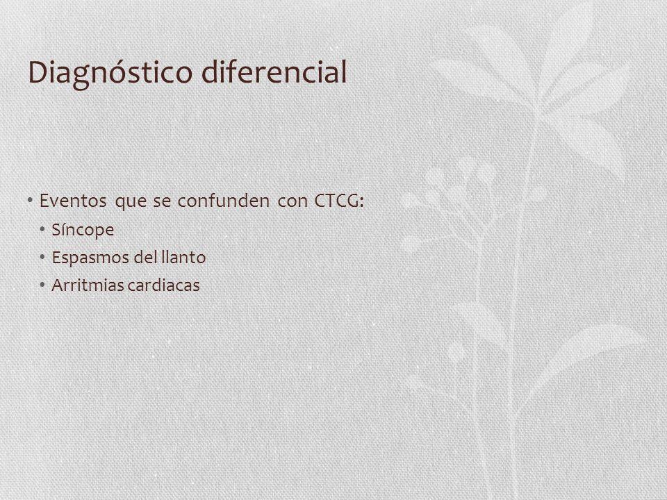 Diagnóstico diferencial Eventos que se confunden con CTCG: Síncope Espasmos del llanto Arritmias cardiacas