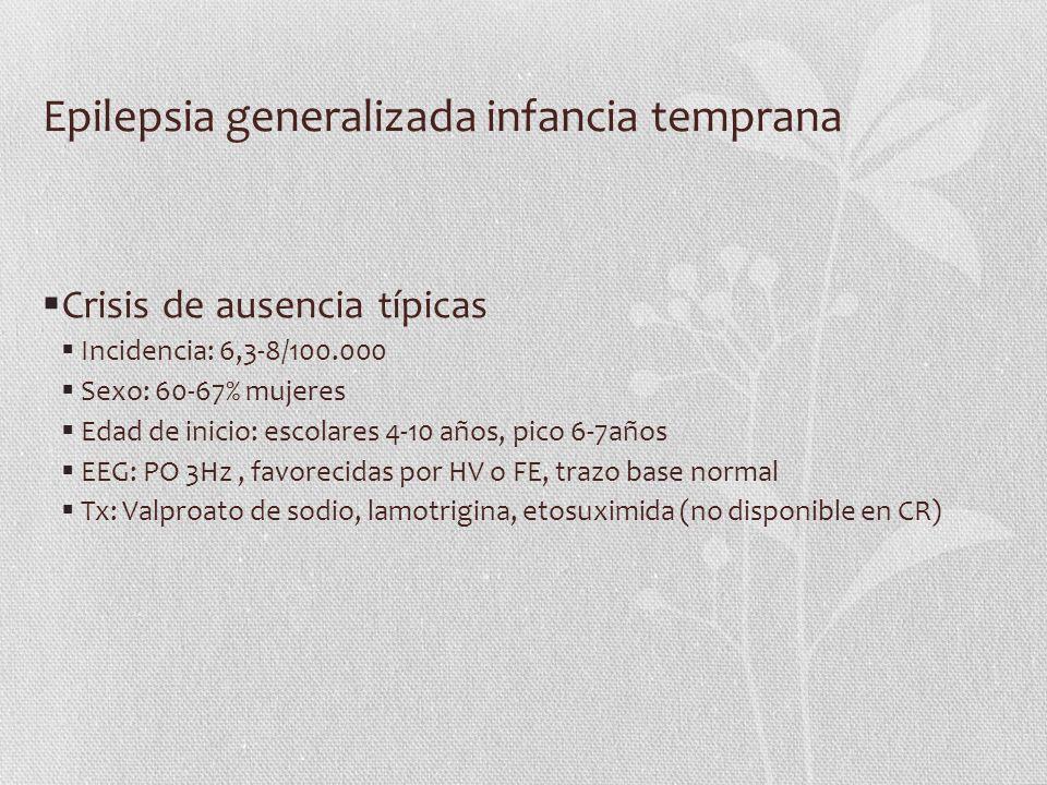 Epilepsia generalizada infancia temprana Crisis de ausencia típicas Incidencia: 6,3-8/100.000 Sexo: 60-67% mujeres Edad de inicio: escolares 4-10 años
