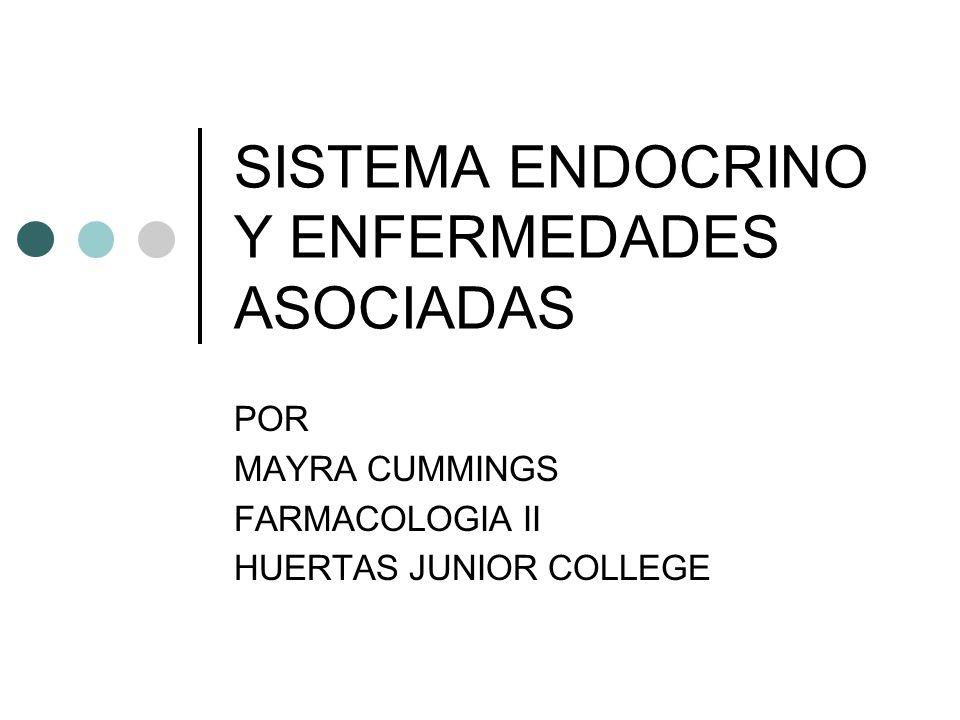 SISTEMA ENDOCRINO Y ENFERMEDADES ASOCIADAS POR MAYRA CUMMINGS FARMACOLOGIA II HUERTAS JUNIOR COLLEGE
