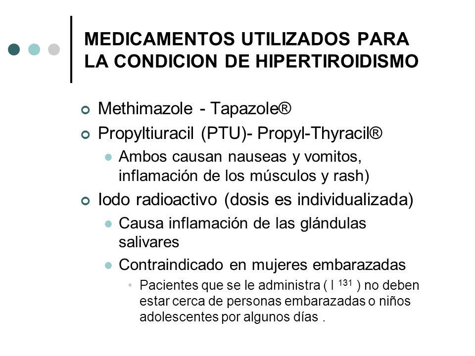 MEDICAMENTOS UTILIZADOS PARA LA CONDICION DE HIPERTIROIDISMO Methimazole - Tapazole® Propyltiuracil (PTU)- Propyl-Thyracil® Ambos causan nauseas y vom