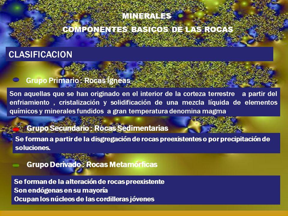MINERALES COMPONENTES BASICOS DE LAS ROCAS CLASIFICACION Grupo Primario : Rocas Ígneas Grupo Secundario : Rocas Sedimentarias Grupo Derivado : Rocas M