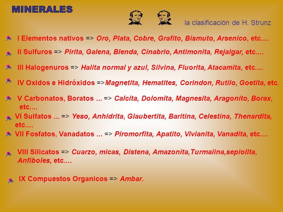 la clasificación de H. Strunz I Elementos nativos => Oro, Plata, Cobre, Grafito, Bismuto, Arsenico, etc.... II Sulfuros => Pirita, Galena, Blenda, Cin
