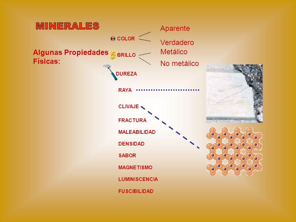 Algunas Propiedades Físicas: COLOR BRILLO Aparente Verdadero Metálico No metálico DUREZA RAYA CLIVAJE FRACTURA MALEABILIDAD DENSIDAD SABOR MAGNETISMO