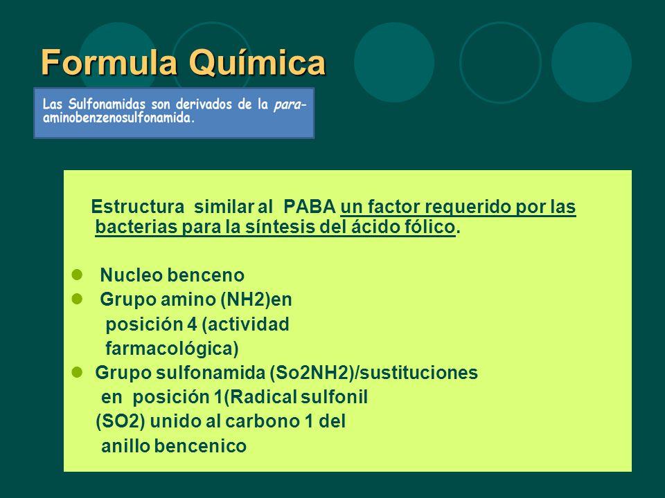 Formula Química Estructura similar al PABA un factor requerido por las bacterias para la síntesis del ácido fólico. Nucleo benceno Grupo amino (NH2)en