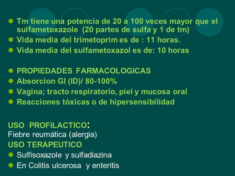 Tm tiene una potencia de 20 a 100 veces mayor que el sulfametoxazole (20 partes de sulfa y 1 de tm) Vida media del trimetoprim es de : 11 horas. Vida