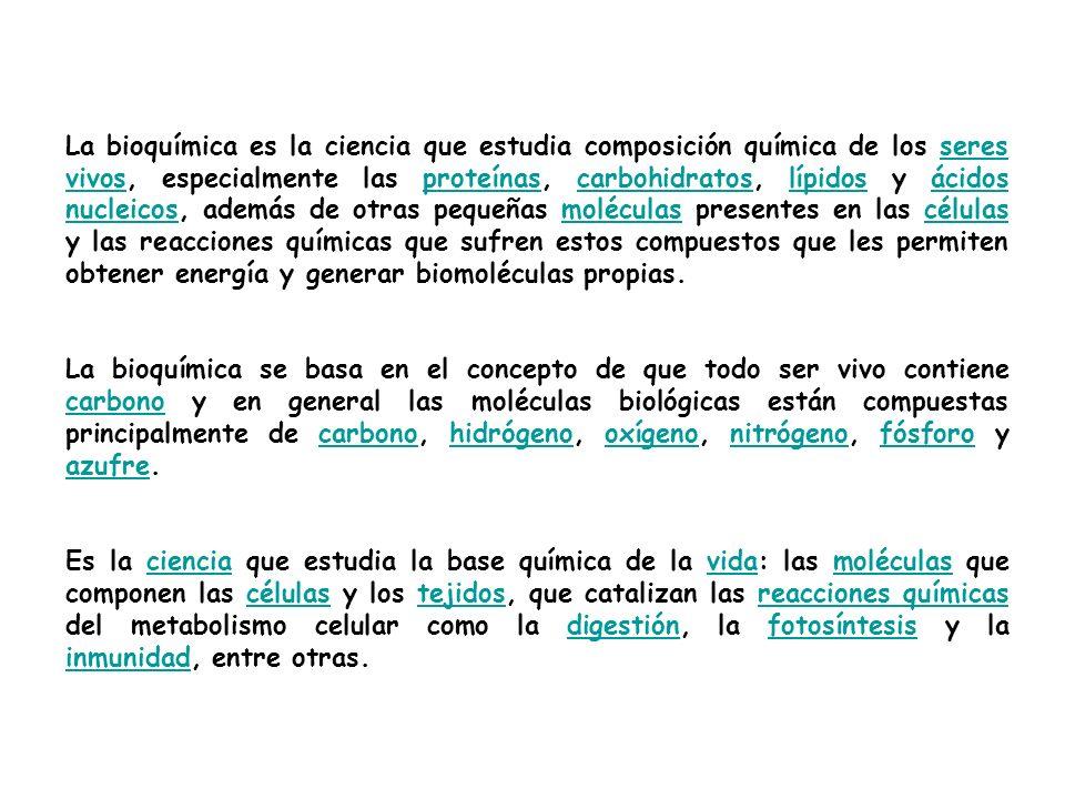 En 1828 Friedrich Wöhler publicó un artículo acerca de la síntesis de urea, probando que los compuestos orgánicos pueden ser creados artificialmente, en contraste con la creencia, comúnmente aceptada durante mucho tiempo, que la generación de estos compuestos era posible sólo en el interior de los seres vivos.1828Friedrich Wöhler ureacompuestos orgánicos Desde entonces, la bioquímica ha avanzado, especialmente desde la mitad del siglo XX con el desarrollo de nuevas técnicas como la cromatografía, la difracción de rayos X, marcaje por isótopos y el microscopio electrónico.siglo XXcromatografía difracción de rayos Xmarcaje por isótoposmicroscopio electrónico Estas técnicas abrieron el camino para el análisis detallado y el descubrimiento de muchas moléculas y rutas metabólicas de las células, como la glucólisis y el Ciclo de Krebs(denominado así en honor al bioquímico Hans Adolf Krebs).metabólicascélulasglucólisisCiclo de Krebsbioquímico Hans Adolf Krebs Hoy, los avances de la bioquímica son usados en cientos de áreas, desde la genética hasta la biología molecular, de la agricultura a la medicina.