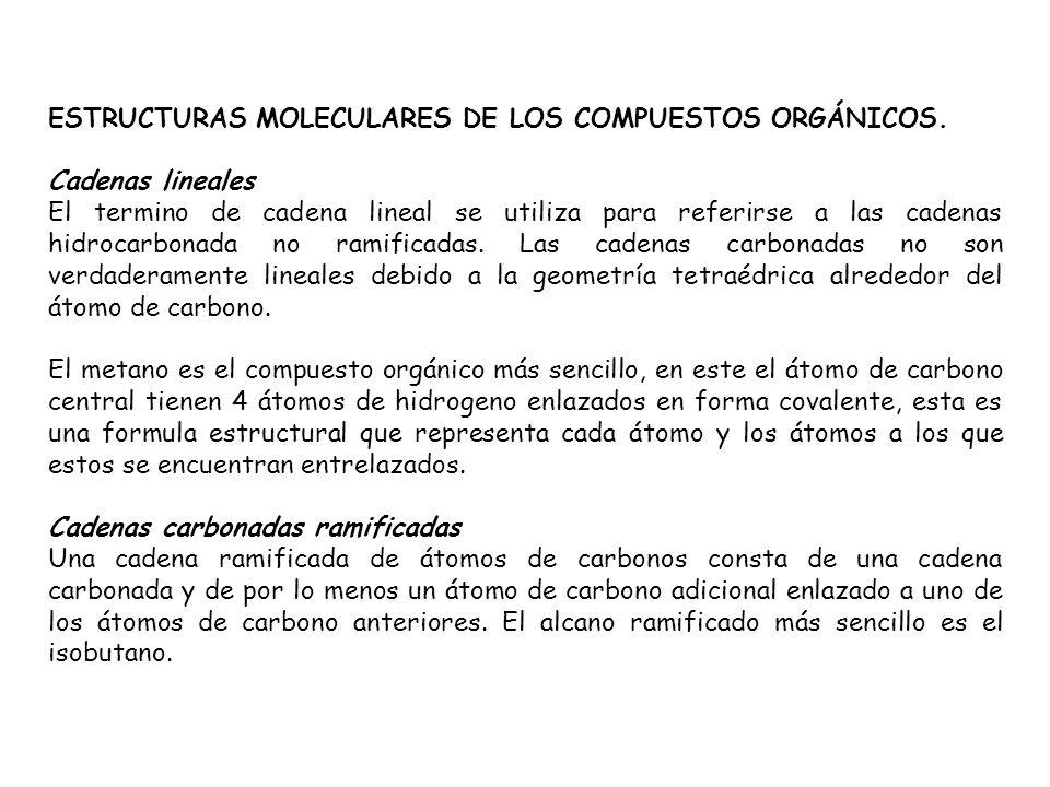 ESTRUCTURAS MOLECULARES DE LOS COMPUESTOS ORGÁNICOS. Cadenas lineales El termino de cadena lineal se utiliza para referirse a las cadenas hidrocarbona