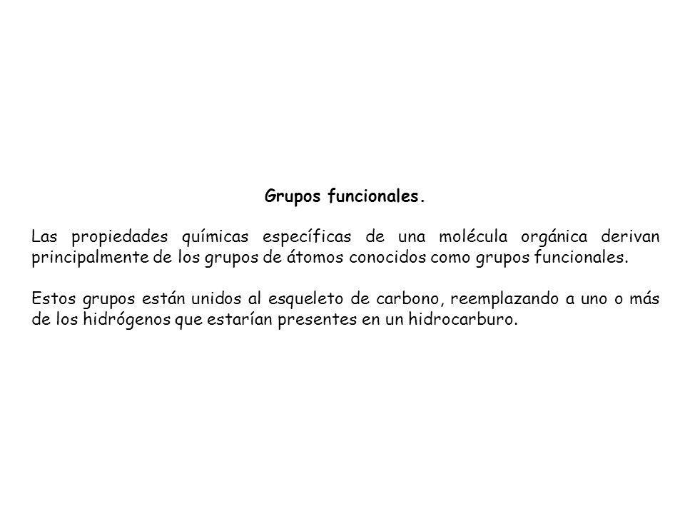 Grupos funcionales. Las propiedades químicas específicas de una molécula orgánica derivan principalmente de los grupos de átomos conocidos como grupos