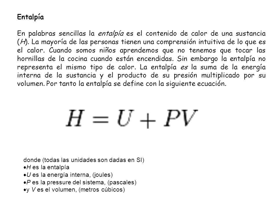 Entalpía En palabras sencillas la entalpía es el contenido de calor de una sustancia (H). La mayoría de las personas tienen una comprensión intuitiva