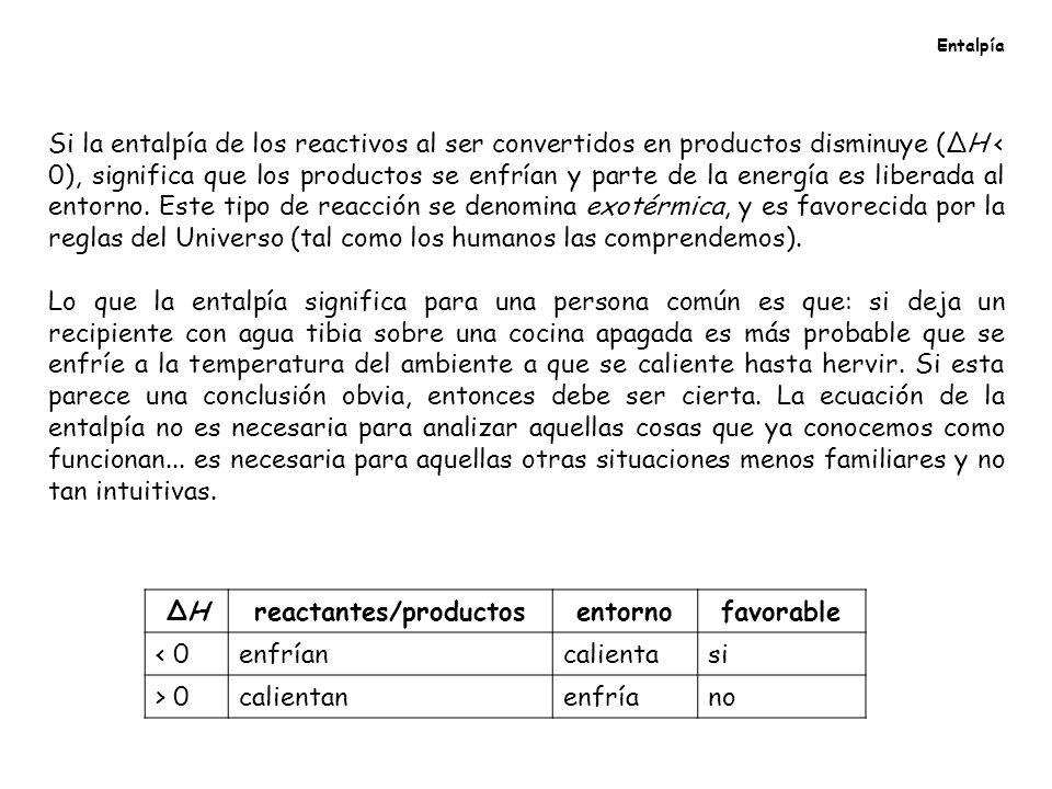 Entalpía Si la entalpía de los reactivos al ser convertidos en productos disminuye (ΔH < 0), significa que los productos se enfrían y parte de la ener