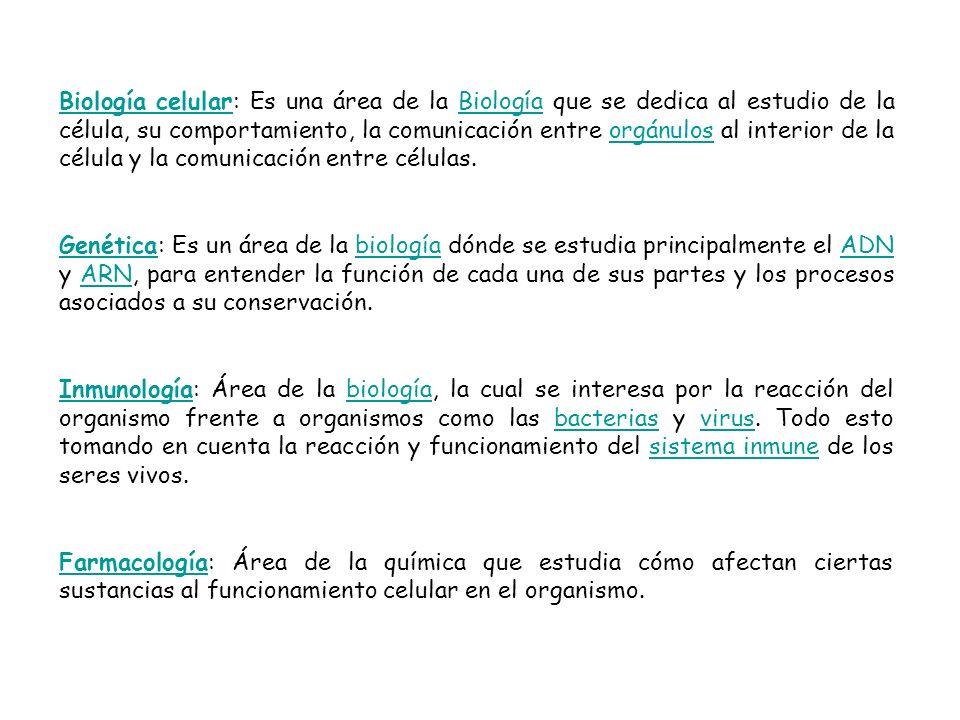 Biología celularBiología celular: Es una área de la Biología que se dedica al estudio de la célula, su comportamiento, la comunicación entre orgánulos