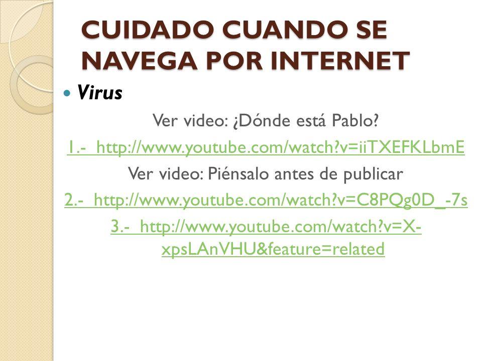 CUIDADO CUANDO SE NAVEGA POR INTERNET Virus Ver video: ¿Dónde está Pablo? 1.- http://www.youtube.com/watch?v=iiTXEFKLbmE Ver video: Piénsalo antes de