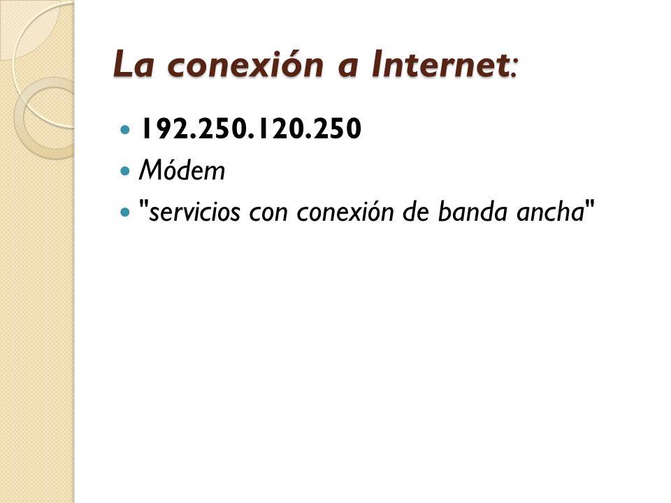 La conexión a Internet: 192.250.120.250 Módem