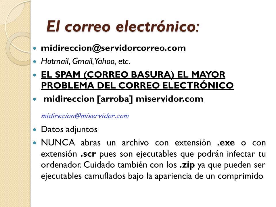 El correo electrónico: midireccion@servidorcorreo.com Hotmail, Gmail, Yahoo, etc. EL SPAM (CORREO BASURA) EL MAYOR PROBLEMA DEL CORREO ELECTRÓNICO mid